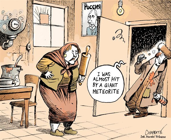 Patrick Chappatte - The International Herald Tribune - Meteorite over Russia - English - Space, Meteorite, Russia, Alcool