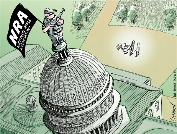 Gun Control Bill Fails © Patrick Chappatte,The International Herald Tribune,USA, Weapons, NRA, Law, Congress, Parliament