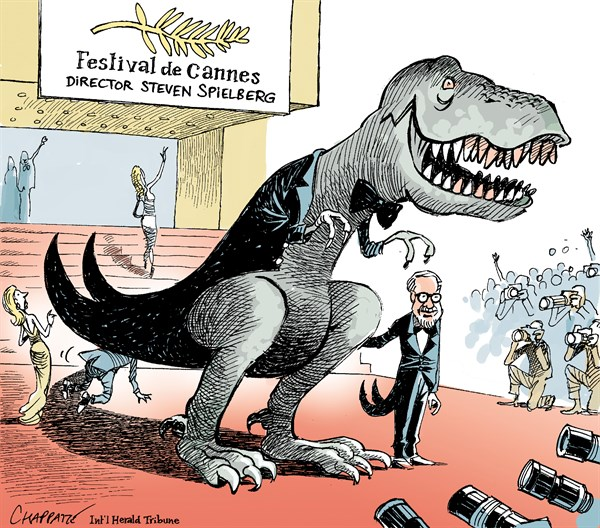 Steven Spielberg opens Cannes © Patrick Chappatte,The International Herald Tribune,Arts, Cinema, Cannes, Spielberg, France, Dinosaurs