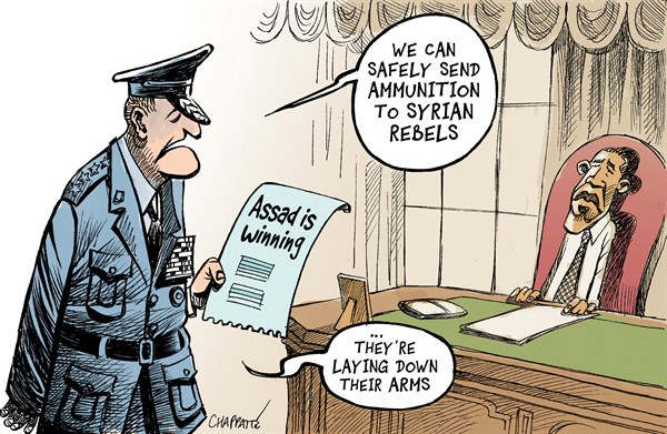 Patrick Chappatte - Le Temps, Switzerland - US vow to help Syria rebels - English - USA, Obama, Assad, US Military, Syria, Civil War, Revolution