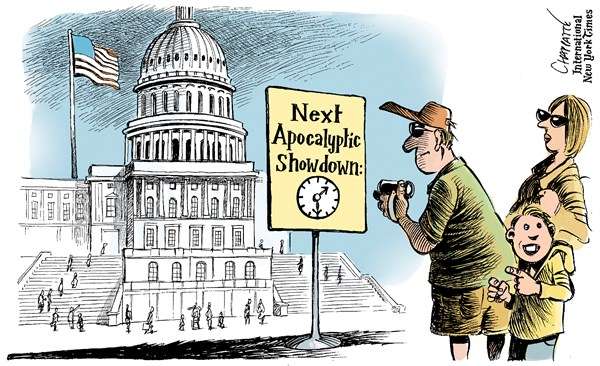 Patrick Chappatte - The International Herald Tribune - Truce in Washington - English - USA, Washington, Capitol, Parliament, Republicans, Tea Party, Public Finances, Government, Vacation, Shutdown