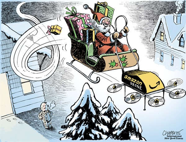 Patrick Chappatte - The International Herald Tribune - Christmas 2013 - English - Christmas, Santa Claus, Party, E-commerce, USA, Amazon, Internet