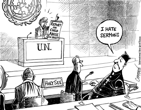Patrick Chappatte - The International New York Times - UN criticize Vatican on abuse - English - United Nations, UNO, Report, Diplomacy, Religion, Vatican, Catholic Church, Pedophilia, Sex, Scandal, Children