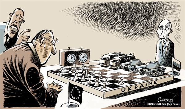 Patrick Chappatte - The International New York Times - Power play in UKRAINE - English - Ukraine, Europe, Russia, Putin, Eastern Europe, Revolution, Game, Chess, Tank, Military