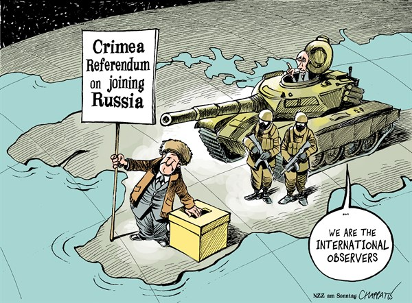 Patrick Chappatte - NZZ am Sonntag - Crimea Referendum - English - Ukraine, Crimea, Russia, Putin Military, Tank, Eastern Europe, Cold War, Vote, Separatism