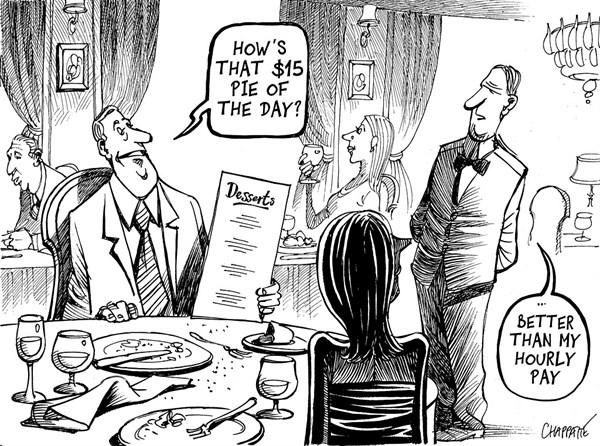 Patrick Chappatte - Le Temps, Switzerland - MINIMUM WAGE - English - Economy, Salary, Social, Poverty, Work, Money, Restaurant