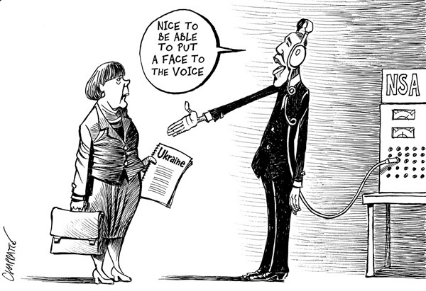 Patrick Chappatte - Le Temps, Switzerland - Merkel and Obama - English - USA, Germany, Obama, Merkel, Ukraine, NSA, Spying, Scandal