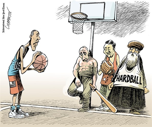 Patrick Chappatte - The International New York Times - Hardball in World politics - English - USA, Obama, Putin, Xi Jinping, Ukraine, Russia, Iran, China, Power, Cold War, World, Sports, Basketball, Baseball