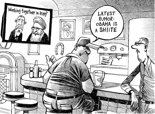 Patrick Chappatte - NZZ am Sonntag - Obama, Iran and Iraq - English - Iraq, Islam, Religion, Extremism, War against Terrorism, Civil War, USA, Obama, Iran, Rohani