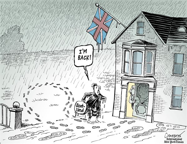 Scotland returns home © Patrick Chappatte,The International New York Times,United Kingdom, Great Britain, Scotland, Independence, Separatism, Voting, Democracy, Weather, Climate