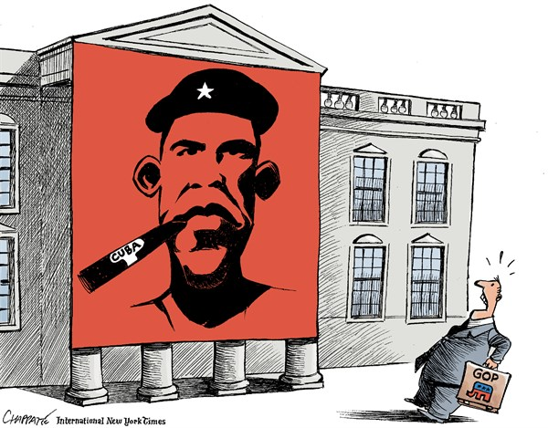Obama the Cuban © Patrick Chappatte,The International New York Times,USA,Cuba,Obama,Che Guevara,Communism,Diplomacy,White House