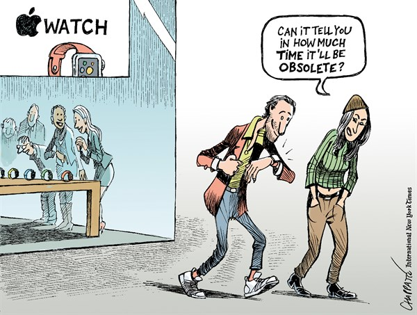 Here comes the Apple Watch © Patrick Chappatte,The International New York Times,Economy, Apple Watch, Internet, Youth, Watch