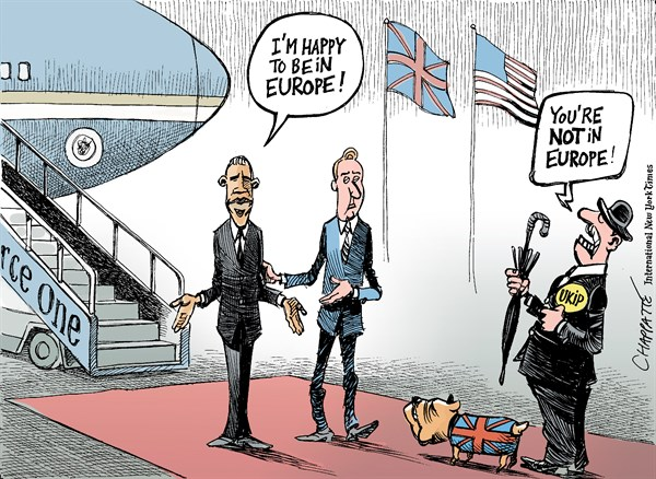 Patrick Chappatte - The International New York Times -  Obama in the UK - English - European Union, Cameron, Obama