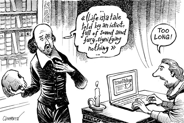 Patrick Chappatte - Le Temps, Switzerland - 400 Years After Shakespeare - English - Shakespeare, Birthday, History, Great Britain, United Kingdom, Arts, Book, Media, Twitter, Internet, Computers,