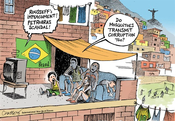 Patrick Chappatte - The International New York Times -  Scandals in Brazil - English - Brazil, Rio, Rousseff, Scandal, Corruption, Economy, Social, Rio, Zika, Virus,