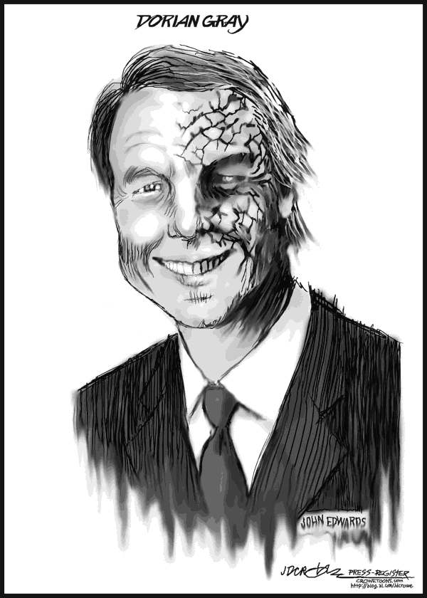 "J.D. Crowe - Mobile Register - John Edwards ""Dorian Gray"" - English - John Edwards, Dorian Gray, sex, affair, campaign, presidential, candidate, Democrat, politics, adultery, baby, father, babay daddy, Rielle, video, Liz Edwards, cancer, cartoon, Crowe"