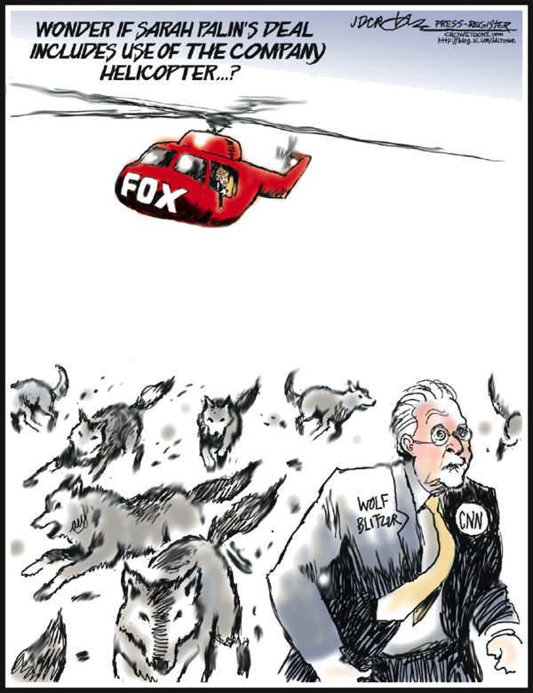 J.D. Crowe - Mobile Register - Palin Fox Copter - English - Sarah Palin, Fox, wolves, CNN, media, politics, Fox News, Faux News, helicopter, Wolf Blitzer