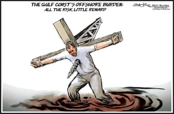 J.D. Crowe - Mobile Register - The Gulf Burden - English - BP, Gulf of Mexico, oil spill, offshore, offshore drilling, oil, Gulf Coast, energy, revenue, Alabama, Lousiana, Mississippi, Texas