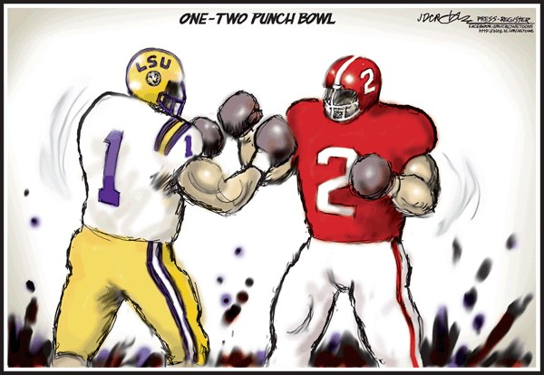One-Two Punch Bowl © J.D. Crowe,Mobile Register,LSU, Alabama