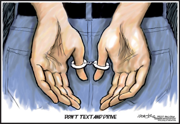J.D. Crowe - Mobile Register - Don't text and drive - English - text ban, safety