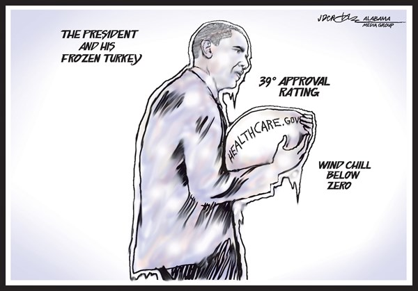 140099 600 Obamas unpopular frozen turkey cartoons