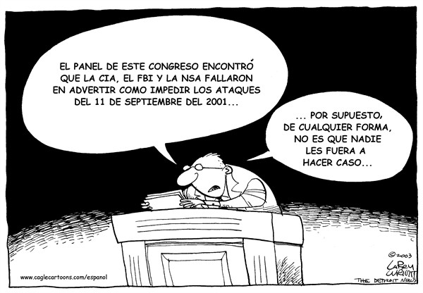 Larry Wright - The Detroit News - Advertencia - Spanish - Advertencia, 9/11, FBI, CIA, NSA