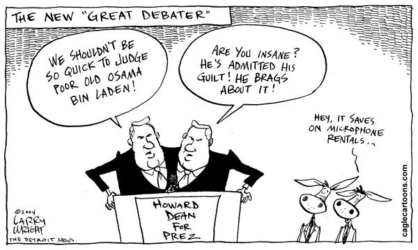 Larry Wright - The Detroit News - The Great Debater - English - Elections, 2004, Howard Dean,