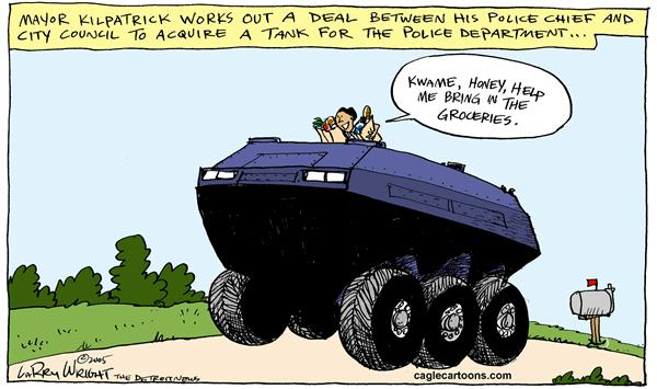 Larry Wright - The Detroit News - COLOR LOCAL MI Detroit gets a tank - English - detroit mayor kilpatrick police tank