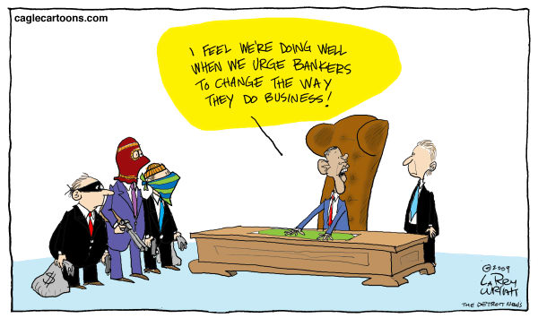 COLOR Banking Biz © Larry Wright,The Detroit News,President Obama, bank business