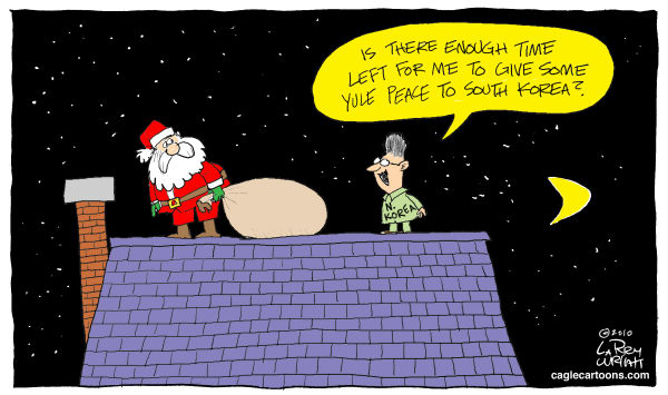 Larry Wright - The Detroit News - COLOR Yule Peace - English - North Korea peace offer, kim jong il, christmas, santa claus, roof