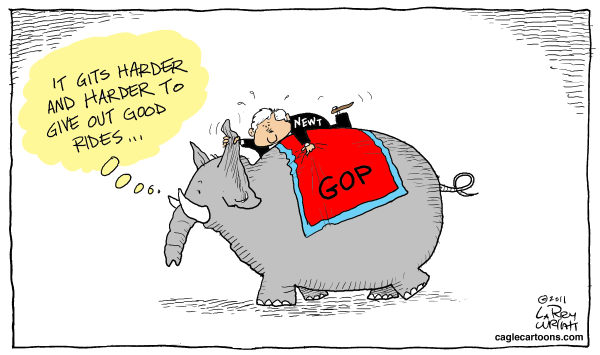 Larry Wright - The Detroit News - COLOR Newt Ride - English - GOP elephant, Newt