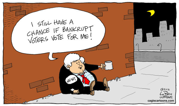 Lucky Bankruptcy © Larry Wright,The Detroit News,Gingrich, bankruptcy, still running