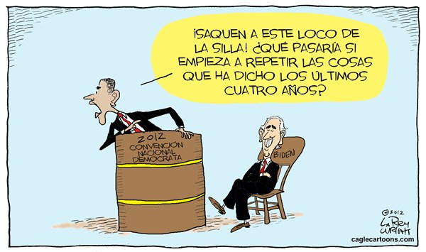 Larry Wright - The Detroit News - Convencion Democrata - Spanish - Barack,Obama,presidente,USA,Democratas,Convencion,Nacional,Democrata,CND,eleccion,2012,tonto,Biden,loco,comentarios,silla