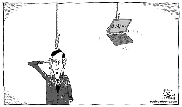 Larry Wright - CagleCartoons.com - Death by Email - English - sex scandal; CIA Director, David Petraeus