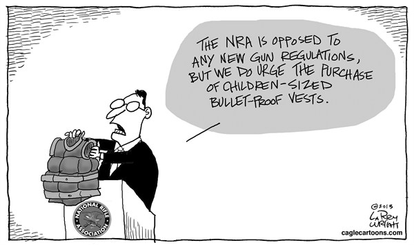 Larry Wright - CagleCartoons.com - Kids Vests - English - NRA, gun regulations, bullet-proof vests