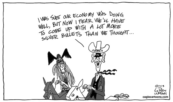 Larry Wright - CagleCartoons.com - The Lone Ranger - English - economy; silver bullets; President Obama