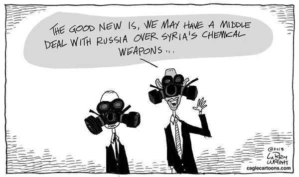 Larry Wright - CagleCartoons.com - Sryia Deal - English - Syria, chemical weapons, Vladimir Putin, Barack Obama