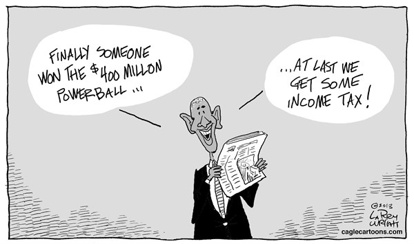 Larry Wright - CagleCartoons.com - Powerball - English - President Obama,400 million Powerball,income tax,debt,deficit
