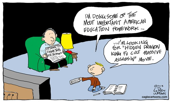 Larry Wright - CagleCartoons.com - COLOR China Education - English - Education, Chinese education