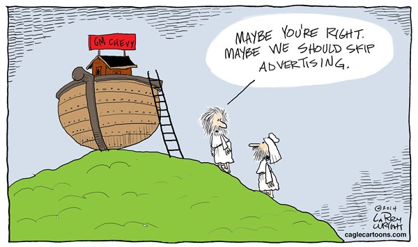 Larry Wright - CagleCartoons.com - COLOR Noah Advertising - English - Noah movie, GM advertising