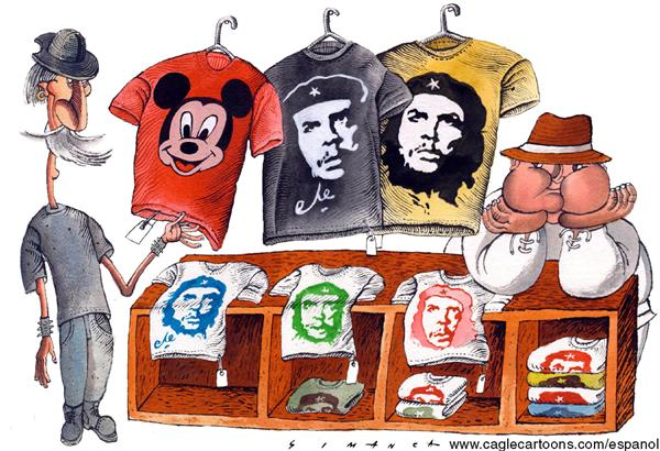 Osmani Simanca - Brazil, www.caglecartoons.com - Don Quijote and Sanchos Booth - English - t-shirts, mikey, quijote, sancho, mickey mouse, souvenirs, che guevara, booth