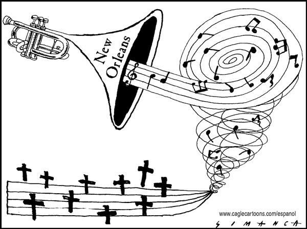 Osmani Simanca - Brazil, www.caglecartoons.com - A Sad Jazz in New Orleans - English - Hurricane, Katrina, disaster, New, Orleans, death, Jazz, Blues, music