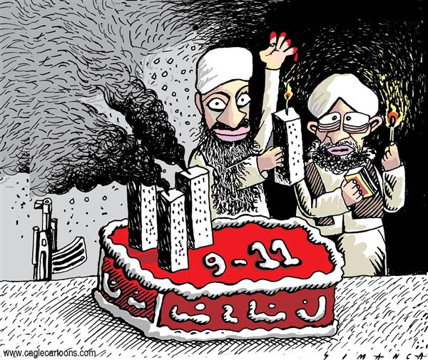 Osmani Simanca - Brazil, www.caglecartoons.com - 9 - 11 4th Anniversary - English - September, 11, New York, Terror, terrorism, Al Qaeda, Osama Bin Laden, Ayman Al Zawahiri