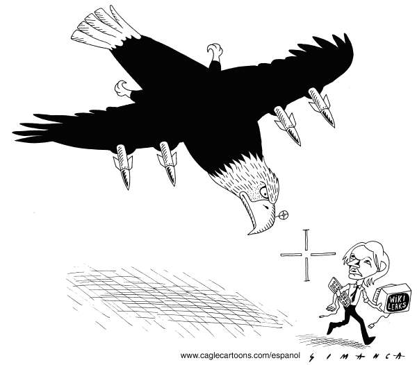 Osmani Simanca - Brazil, www.caglecartoons.com - America Goes After Wikileaks Assange - English - Julian Assange,classified document,Sweden,London,courts,tiral,extradition,Wikileaks