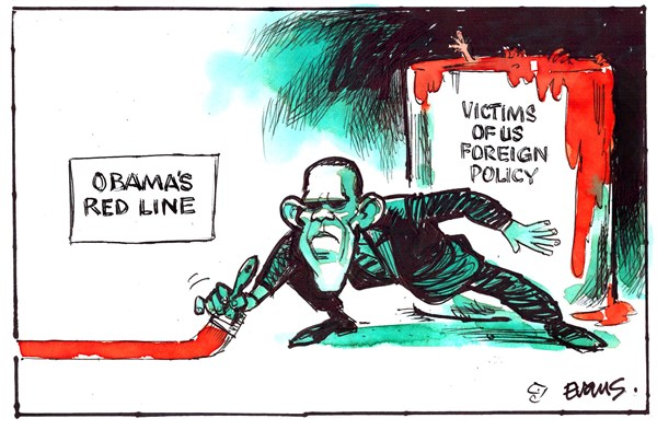 Obamas Red Line © Malcolm Evans,New Zealand,victims,obama,foreign policy,obama-red-line