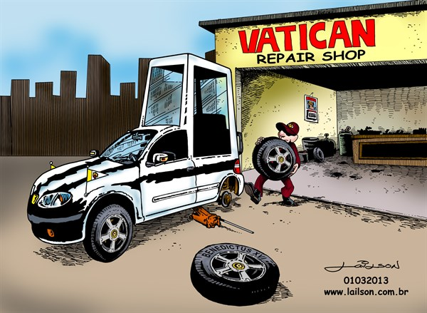 Lailson - Humor World - Vatican changing tires - English - Pope,Papa,Benedict,Bento,popemobile,papamóvil,papamóvel,vatican,vaticano