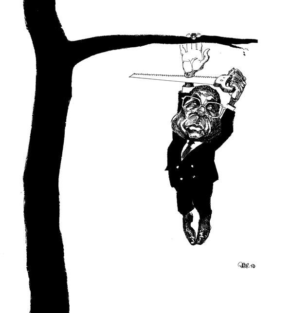 Riber Hansson - Sweden - Africa Mugabe cutting the arm he is hanging on - English - Africa Mugabe Zimbabwe