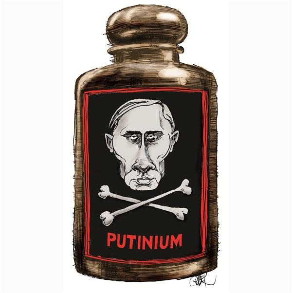 Riber Hansson - Svenska Dagbladet, Sweden - Putin as skull on a poison jar - English - Putin Poison Polonium