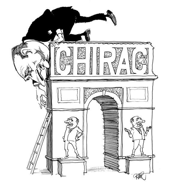 Riber Hansson - Svenska Dagbladet, Sweden - Chirac on triumphal arc - English - President Jaques Chirac France Leaving
