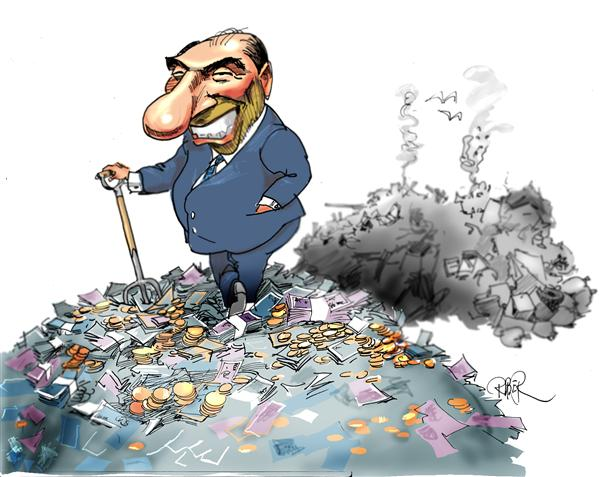 Riber Hansson - Svenska Dagbladet, Sweden - Berlusconi on a stack of money - English - Italy, Election, Berlusconi